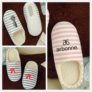 Warm Striped Silent Indoor Cotton Slipper