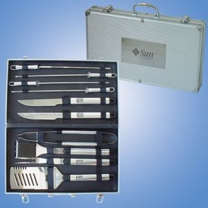 10 Pc BBQ Set in Aluminum Case