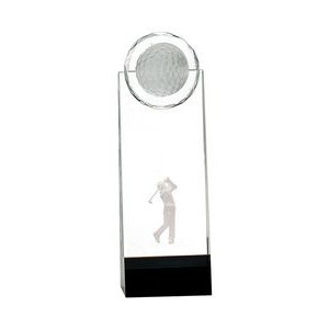 "9 1/2"" inch Clear/Black Crystal Stand-up w/3D Golfer"