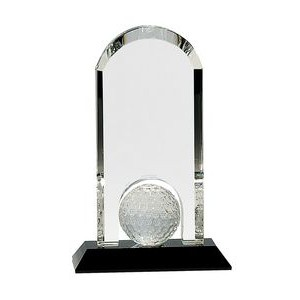 9 inch Clear Crystal Dome w/Inset Golf Ball on Black Pedestal Base