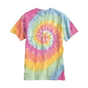 Dyenomite Apparel Tie-Dyed Multi-Color Spiral Short Sleeve T-Shirt