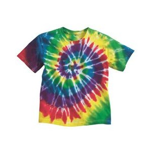 Dyenomite Apparel Tie-Dyed Youth Multi-Color Spiral Short Sleeve T-Shirt
