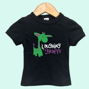 The Laughing Giraffe® Baby Girls Black Short Sleeve T-Shirt w/Scallop Trim