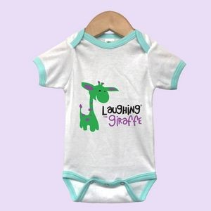 The Laughing Giraffe® Mint Short Sleeve Baby Ringer Bodysuit