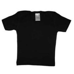 Black Rib Knit Short Sleeve Lap T-Shirt