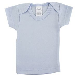 Blue Rib Knit Short Sleeve Lap T-Shirt