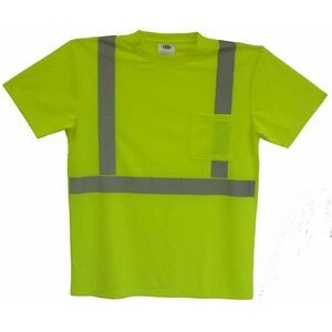 ANSI Class 2 Safety T-Shirt - Lightweight Birdseye Knit with Crew Neck and Pocket