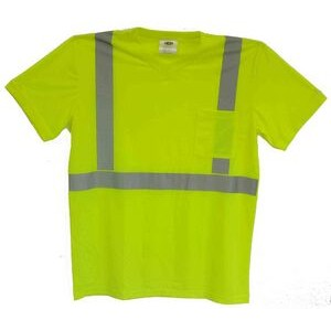 ANSI Class 2 Safety T-Shirt - Micro Mesh with V-Neck and Pocket