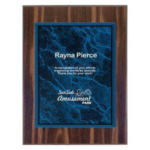 "9"" x 12"" Walnut Finish Plaque with Blue Marble Acrylic Plate"