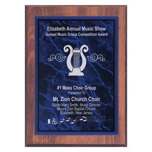 "9"" x 12"" Walnut Finish Plaque with Purple Marble Acrylic Plate"