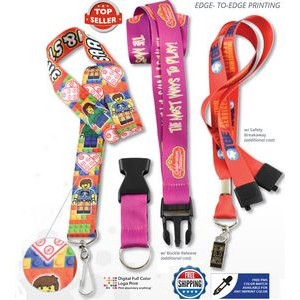 "7 DAYS Delivered 3/4"" Full Color Lanyard (20 Mil)"