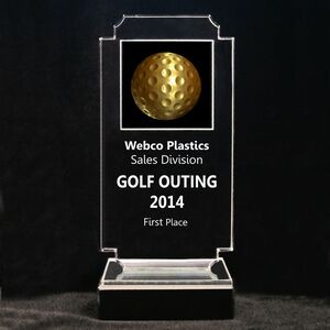 "Acrylic and Marble Engraved Award - 8-3/4"" Full-Color Gold Golf Ball Panel"