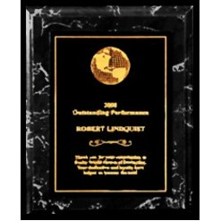 "Black Marble finish Plaque with Full Metal Panel - 5"" x 7"""