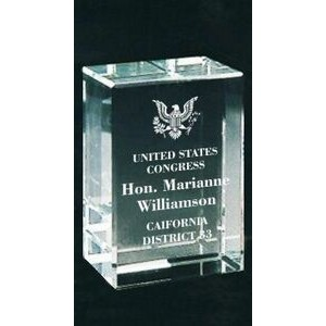 Solid Crystal Engraved Award - Small Clear Block